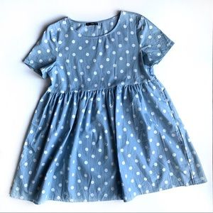 Polka Dot Print Blue Smock Dress